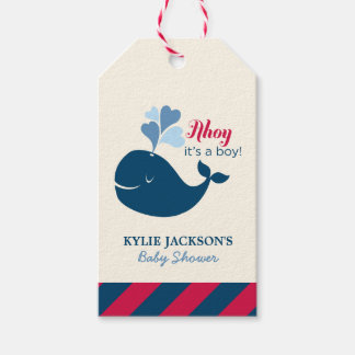 Baby Shower Favor Tags | Nautical Whale Theme