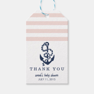 Baby Shower Favor Tags   Pink Nautical Stripe