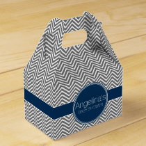 Baby Shower Favor with Chevrons Personalized Name Favor Box