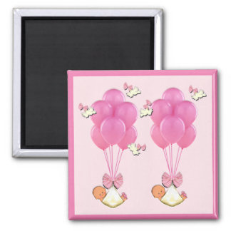 baby shower favors twin girls 2 inch square magnet