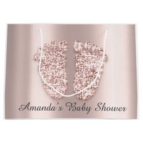 Baby Shower Feet Boy Girl Name Rose Blush Large Gift Bag