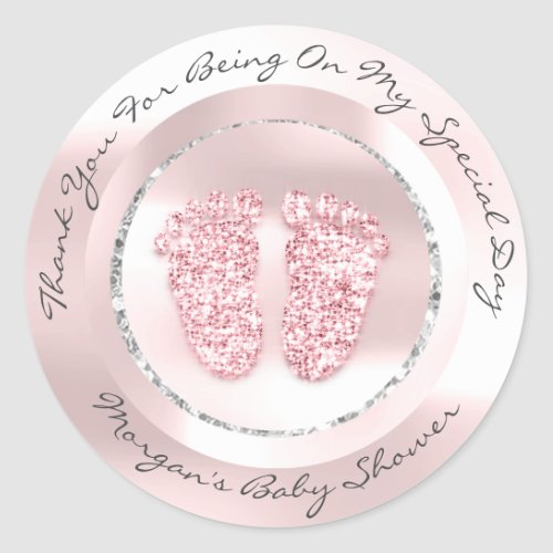 Baby Shower Feet Girl Name Thank Gray Rose Pink Classic Round Sticker