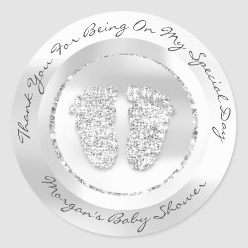 Baby Shower Feet Girl Name Thank Gray Silver Classic Round Sticker