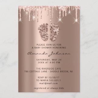 Baby Shower Feet Glitter Rose Gold Drips  Boy Girl Invitation