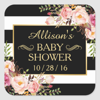 Baby Shower Floral Black White Striped Gold Frame Square Sticker