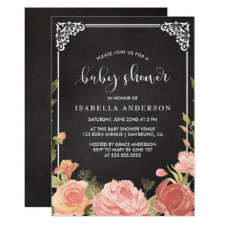 Baby Shower | Floral Bouquet & Frame on Chalkboard Card