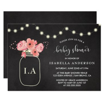 Toddler & Baby themed Baby Shower | Floral Jar & Lights on Chalkboard Card