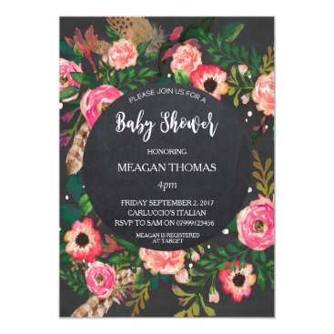 Toddler & Baby themed Baby shower floral modern chalkboard feather card