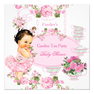 Baby Shower Floral Rose Tea Party Pink Brunette Card
