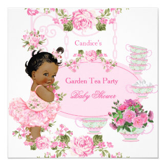 Baby Shower Floral Rose Tea Party Pink Ethnic Card