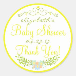 Baby Shower- Floral Classic Round Sticker