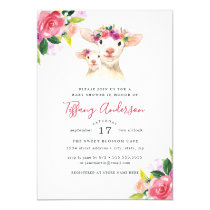 Baby Shower Floral Sweet Mom And Baby Lamb Invitation