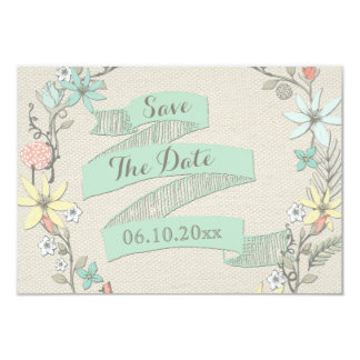 Baby Shower Floral Wreath Banner Save The Date 3.5x5 Paper Invitation Card