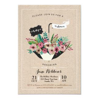 Baby Shower Flower Umbrella Simple Design Invite