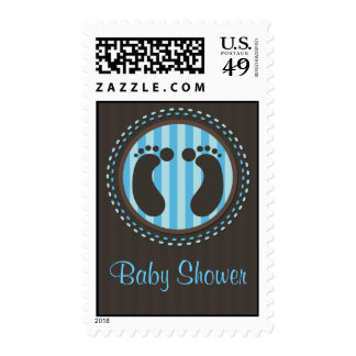 Baby Shower - Foot Prints - Blue - Postage Stamps