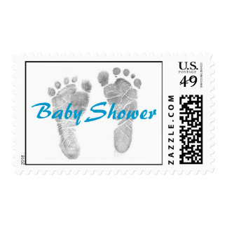 Baby Shower Footprint Postage in BLUE
