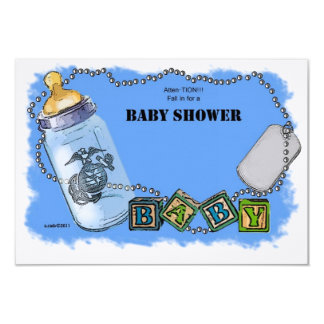 Baby Shower for a Marine 3.5x5 Paper Invitation Card