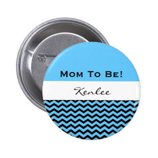 Baby Shower for Boy Blue and Black Chevrons V04 2 Inch Round Button