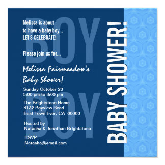 Baby Shower for Boy Blue Modern B451 5.25x5.25 Square Paper Invitation Card