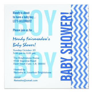 Baby Shower for Boy Blue Modern Chevrons B451B 5.25x5.25 Square Paper Invitation Card