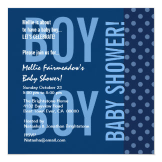 Baby Shower for Boy Blue Polka Dots B451C 5.25x5.25 Square Paper Invitation Card