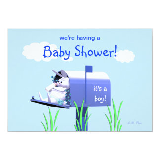 Baby Shower for Boy - Bunny In Mailbox Card