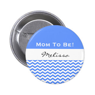 Baby Shower for Boy Modern Blue Chevrons V02 2 Inch Round Button