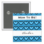Baby Shower for Boy Modern Blue Hearts A06 Button