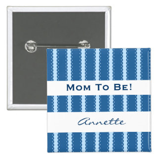 Baby Shower for Boy Modern Blue Ribbons A04 Pinback Button