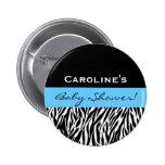 Baby Shower for Boy Modern Zebra Custom Name Pinback Button