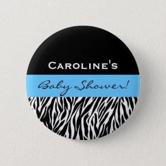 Baby Shower for Boy Modern Zebra Custom Name Pinback Button