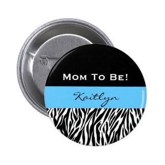 Baby Shower for Boy Modern Zebra Print V2 2 Inch Round Button
