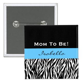 Baby Shower for Boy Modern Zebra Print V2 Button