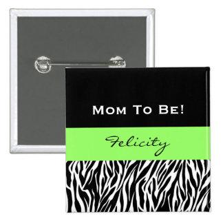 Baby Shower for Boy Modern Zebra Print V3 2 Inch Square Button