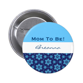 Baby Shower for Boy Retro Blue Stars V10 Pinback Buttons