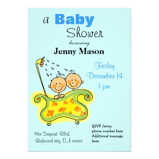 Baby shower for boy twins announcement