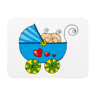 Baby shower for boy twins rectangular photo magnet
