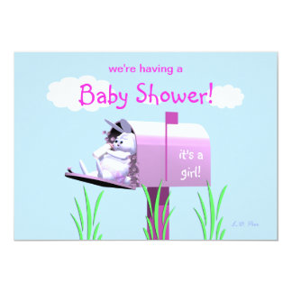 Baby Shower for Girl - Bunny In Mailbox Card