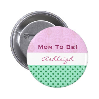 Baby Shower for Girl Pink Green Polka Dots 2 Inch Round Button