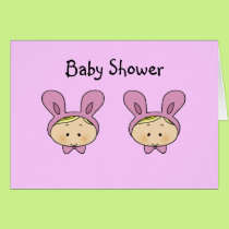 Baby shower for girl twins card