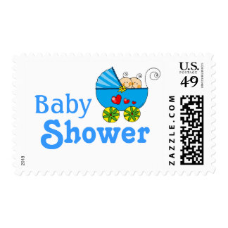 Baby shower for twin baby boys stamp