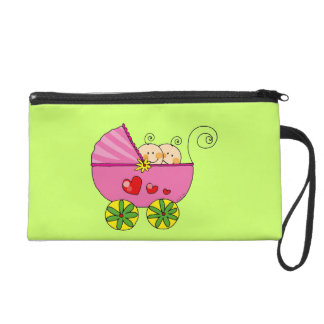 Baby shower for twin baby girls wristlet purses
