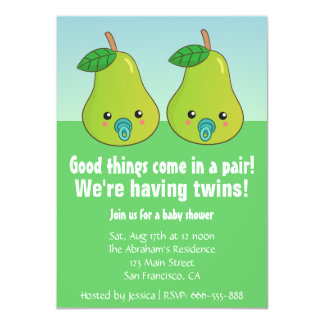 Baby Shower for Twins - Cute pears with pacifiers Invitations