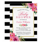 Baby Shower Fuchsia Purple Red Floral Stripes Card