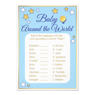 Baby Shower Game Around the World Blue Gold Stars Card