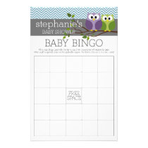 Baby Shower Game - Bingo - boy owl Flyer