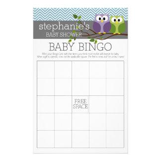 Baby Shower Game - Bingo - boy owl Flyer