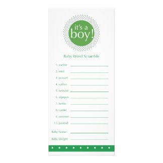 Baby Shower Game Card -Green