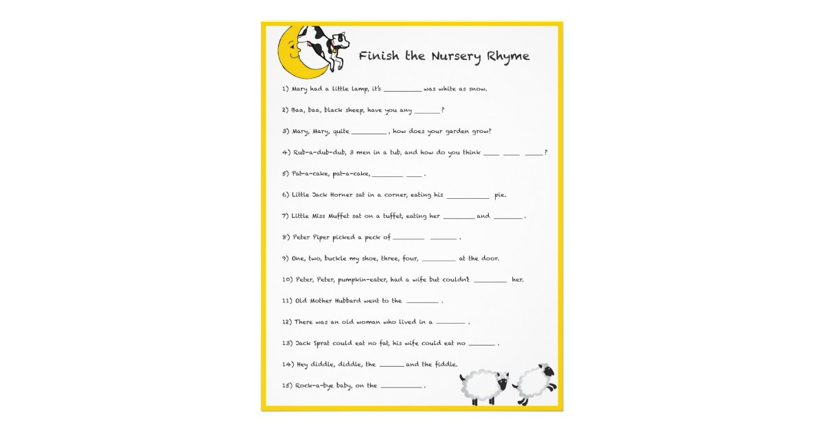 Baby Shower Game - Finish the Nursery Rhyme Flyer | Zazzle.com