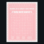 """Baby Shower Game in Pink Papel Picado Flyer<br><div class=""""desc"""">A super fun classic game &quot;Baby Name Race&quot; and &quot;Baby Words Search&quot; in pink papel picado design. Great for Latin-American themed baby shower!</div>"""